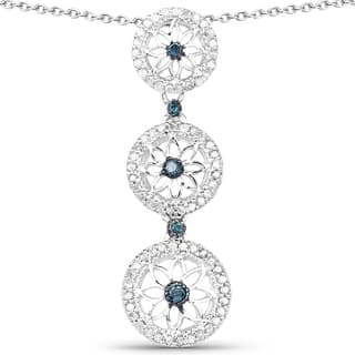 Olivia Leone Sterling Silver 1/2ct TDW Blue and White Diamond Pendant|https://ak1.ostkcdn.com/images/products/11111222/P18114283.jpg?impolicy=medium