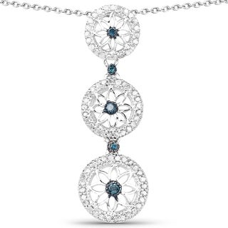 Olivia Leone Sterling Silver 1/2ct TDW Blue and White Diamond Pendant