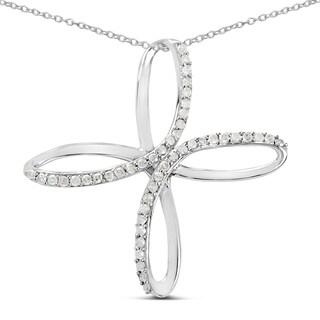 Olivia Leone Sterling Silver 2/5ct TGW White Diamond Pendant