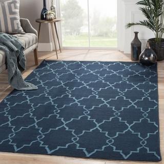 Flatweave Trellis, Chain And Tile Pattern Blue Wool Area Rug (2' x 3')