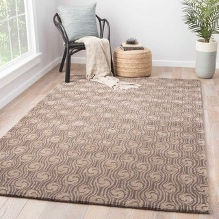 Contemporary Abstract Pattern Gray Wool and Art Silk Area Rug (2' x 3')