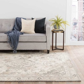 Contemporary Oriental Pattern Ivory/Gray Wool Area Rug (2' x 3')