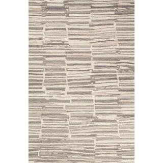 Banzai Handmade Stripe Cream/ Gray Area Rug (2' X 3')