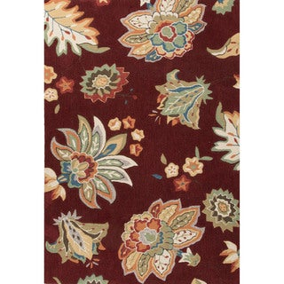 Contemporary Floral & Leaves Pattern Red/Yellow Polyester Area Rug (2' x 3')