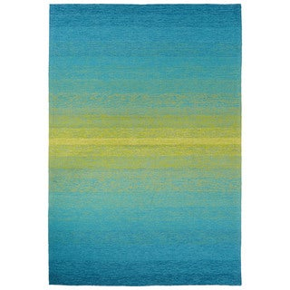 Channel Indoor/ Outdoor Ombre Blue/ Lime Green Area Rug (2' X 3')