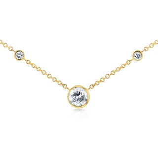 Annello by Kobelli 14k Yellow Gold 1/3ct TDW 3-Bezel Round Diamond Necklace (G-H, I1-I2)