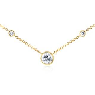 Annello by Kobelli 14k Yellow Gold 1/3ct TDW 3-Bezel Round Diamond Necklace