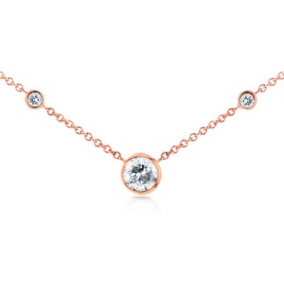 Annello by Kobelli 14k Rose Gold 1/3ct TDW 3-Bezel Round Diamond Necklace (G-H, I1-I2)