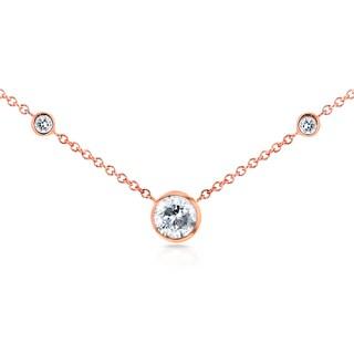 Annello by Kobelli 14k Rose Gold 1/3ct TDW 3-Bezel Round Diamond Necklace