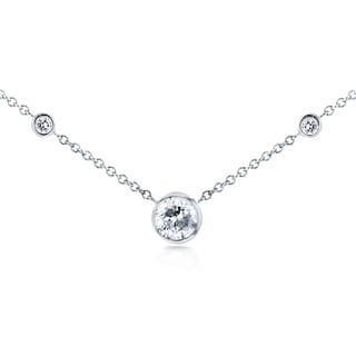 Annello by Kobelli 14k White Gold 1/3ct TDW 3-Bezel Round Diamond Necklace (G-H, I1-I2)