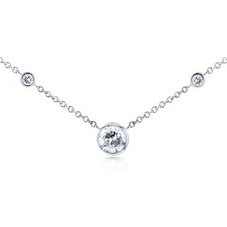 Annello by Kobelli 14k White Gold 1/3ct TDW 3-Bezel Round Diamond Necklace