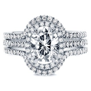Annello by Kobelli 14k White Gold 2 1/4ct TCW Oval Moissanite and Diamond Halo 3-Piece Bridal Rings