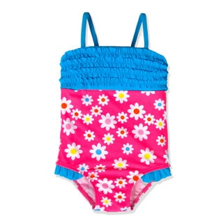 Jump'N Splash Small Girls' Pink Flower Ruffle One Piece