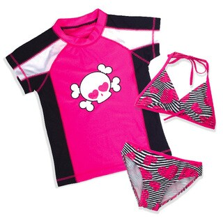 Jump'N Splash Girls' Skull 3 Piece Rash Guard Set