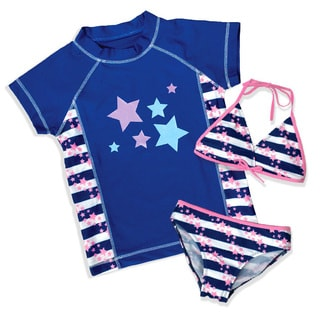 Jump'N Splash Girls' Blue Star 3 Piece Rash Guard Set