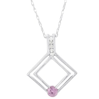 H Star Sterling Silver 14K White Gold Pink Sapphire and Diamond .025ct Pendant (H-I, I-1, I-2)