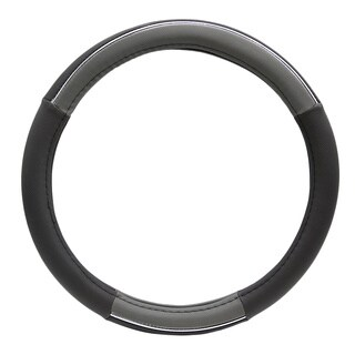 Fit 15-inch Black and Grey Steering Wheel Cover