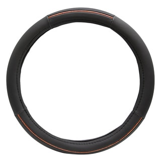 Fit 15-inch Black Wood Grain Steering Wheel Cover