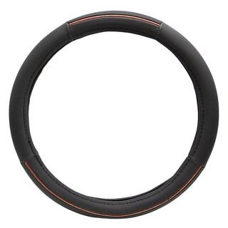 Fit 15-inch Black Wood Grain Steering Wheel Cover