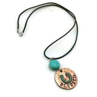 Mama Designs Handmade Turquoise/ Copper Western Style Horseshoe 'Blessed' Necklace