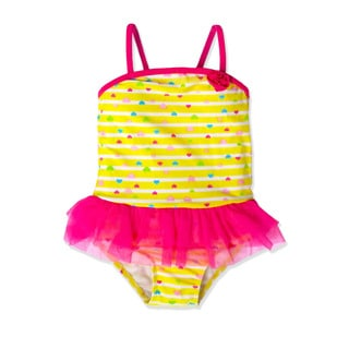Jump'N Splash Small Girls' Yellow Hearts Tutu One Piece