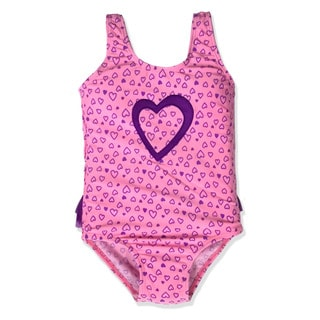 Jump'N Splash Small Girls' Purple Hearts One Piece