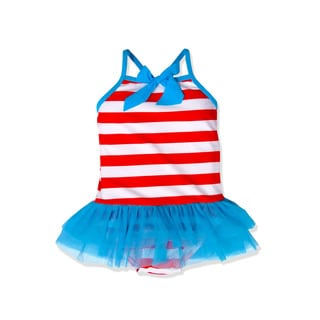 Jump'N Splash Small Girls' Red Stripe Tutu One Piece