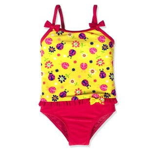 Jump'N Splash Small Girls' Yellow Lady bug Tankini