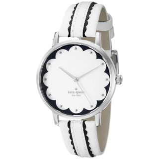 Kate Spade Women's KSW1004 'Scallop Metro' White Leather Watch