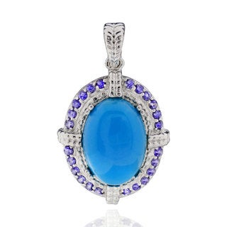 Sterling Silver Oval Turquoise Pendant (China)