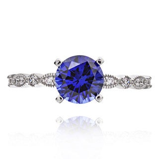 Sterling Silver 2ct Round Cubic Zirconia and Created Blue Sapphire Solitaire Ring (China)