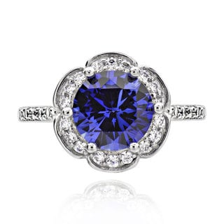 Sterling Silver 2ct Round Created Blue Sapphire and Cubic Zirconia Halo Ring (China)