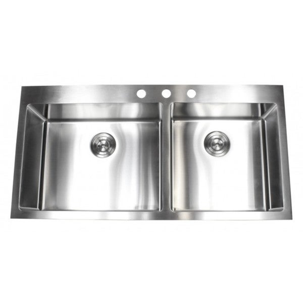 Kitchen Sink Double : ... 15mm Radius Topmount Drop-In Stainless Steel Double Bowl Kitchen Sink