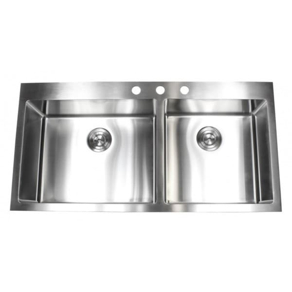 Drop In Kitchen Sinks Double Bowl : ... 15mm Radius Topmount Drop-In Stainless Steel Double Bowl Kitchen Sink