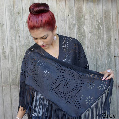 Handmade Saachi Women's Faux Suede Open Front Cutout and Fringe Poncho (China)