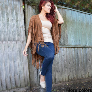 Handmade Saachi Women's Faux Suede Open Front Cutout and Fringe Poncho (China) (4 options available)