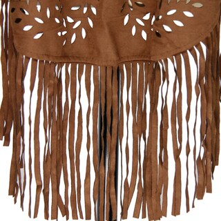 Saachi Women's Faux Suede Open Front Cutout and Fringe Poncho (China)