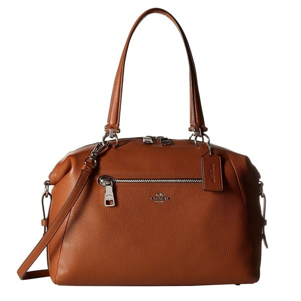 Coach Prairie Saddle Pebble Leather Satchel Handbag Free