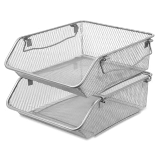 Lorell Silver Mesh Stacking Storage Bins (Set of 2)|https://ak1.ostkcdn.com/images/products/11111714/P18114737.jpg?impolicy=medium