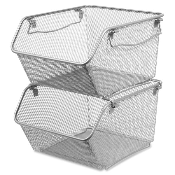 Merveilleux Lorell Silver Mesh Large Stacking Storage Bins (Set Of 2)