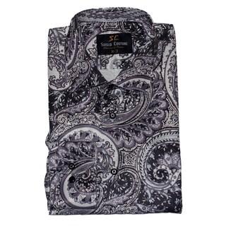 Suslo Couture Men's Moro Grey Button Down