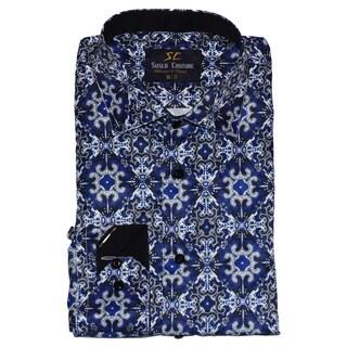 Suslo Couture Men's Verno Blue Button Down