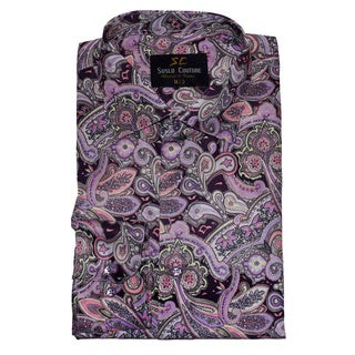 Suslo Couture Men's Bermuda Purple Button Down