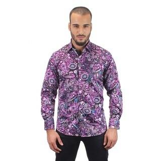 Suslo Couture Men's Garet Purple Button Down