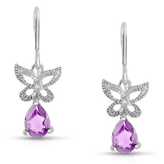 Dolce Giavonna Sterling Silver Amethyst and Diamond Accent Butterfly Dangle Earring (I-J, I2-I3)
