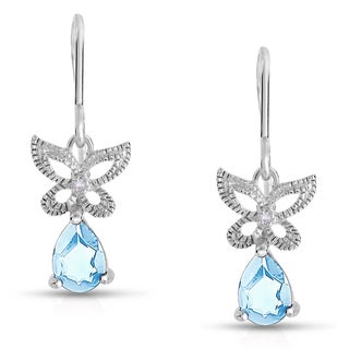 Dolce Giavonna Sterling Silver Blue Topaz and Diamond Accent Butterfly Dangle Earring (I-J, I2-I3)