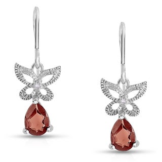 Dolce Giavonna Sterling Silver Garnet and Diamond Accent Butterfly Dangle Earring (I-J, I2-I3)