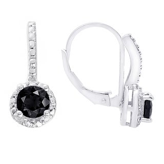 Dolce Giavonna Sterling Silver Black Spinel and White Topaz Leverback Earrings