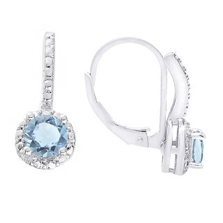 Dolce Giavonna Sterling Silver Blue Topaz and White Topaz Leverback Earrings