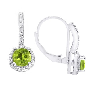 Dolce Giavonna Sterling Silver Peridot and White Topaz Leverback Earrings